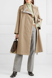 Belted cotton canvas-trimmed gabardine trench coat