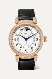 Da Vinci Automatic Moon Phase 36mm 18-karat red gold, alligator and diamond watch