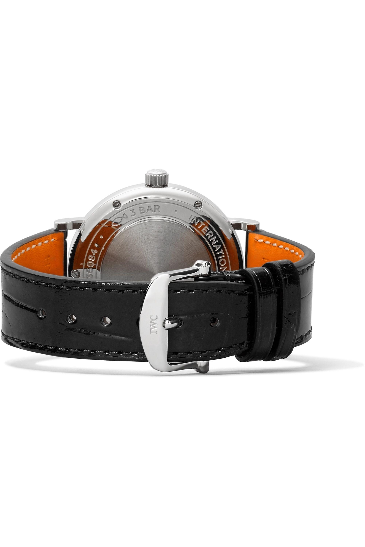 IWC SCHAFFHAUSEN Portofino Automatic 37 毫米钻石精钢腕表(短吻鳄鱼皮表带)