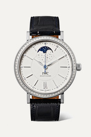 Portofino Automatic Moon Phase 37mm stainless steel, alligator and diamond watch