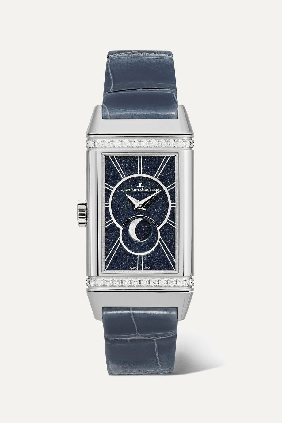 Jaeger-LeCoultre Reverso One Duetto Moon 20mm stainless steel, alligator and diamond watch