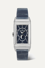 Reverso One Duetto Moon 20mm stainless steel, alligator and diamond watch