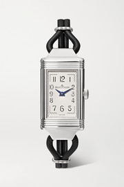 Reverso One Cordonnet 16.3mm stainless steel, leather and diamond watch
