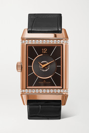 Reverso Classic Duetto 24.4mm medium rose gold, alligator and diamond watch