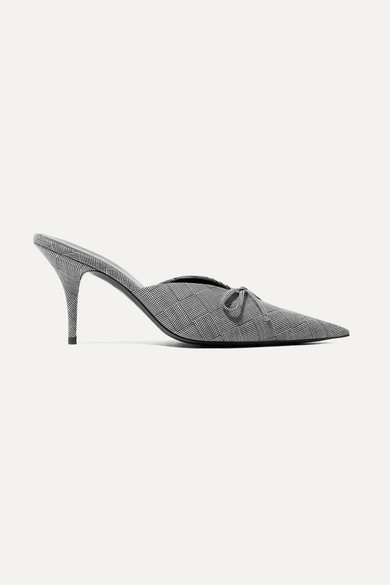 Knife Bow Embellished Checked Wool Mules by Balenciaga