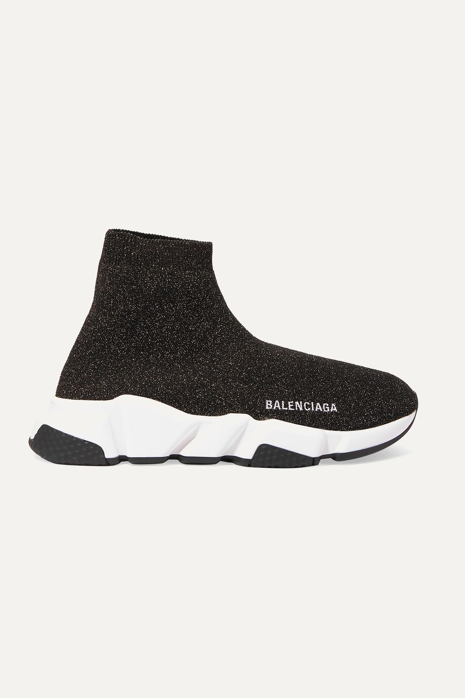 Balenciaga Speed logo-embroidered metallic stretch-knit high-top sneakers
