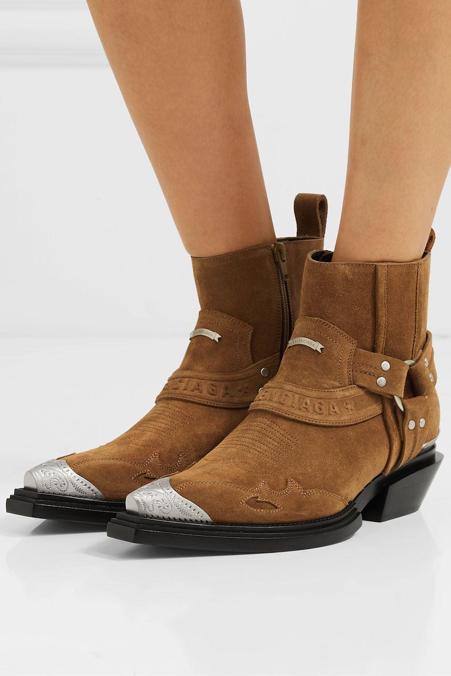 Balenciaga Santiag suede ankle boots