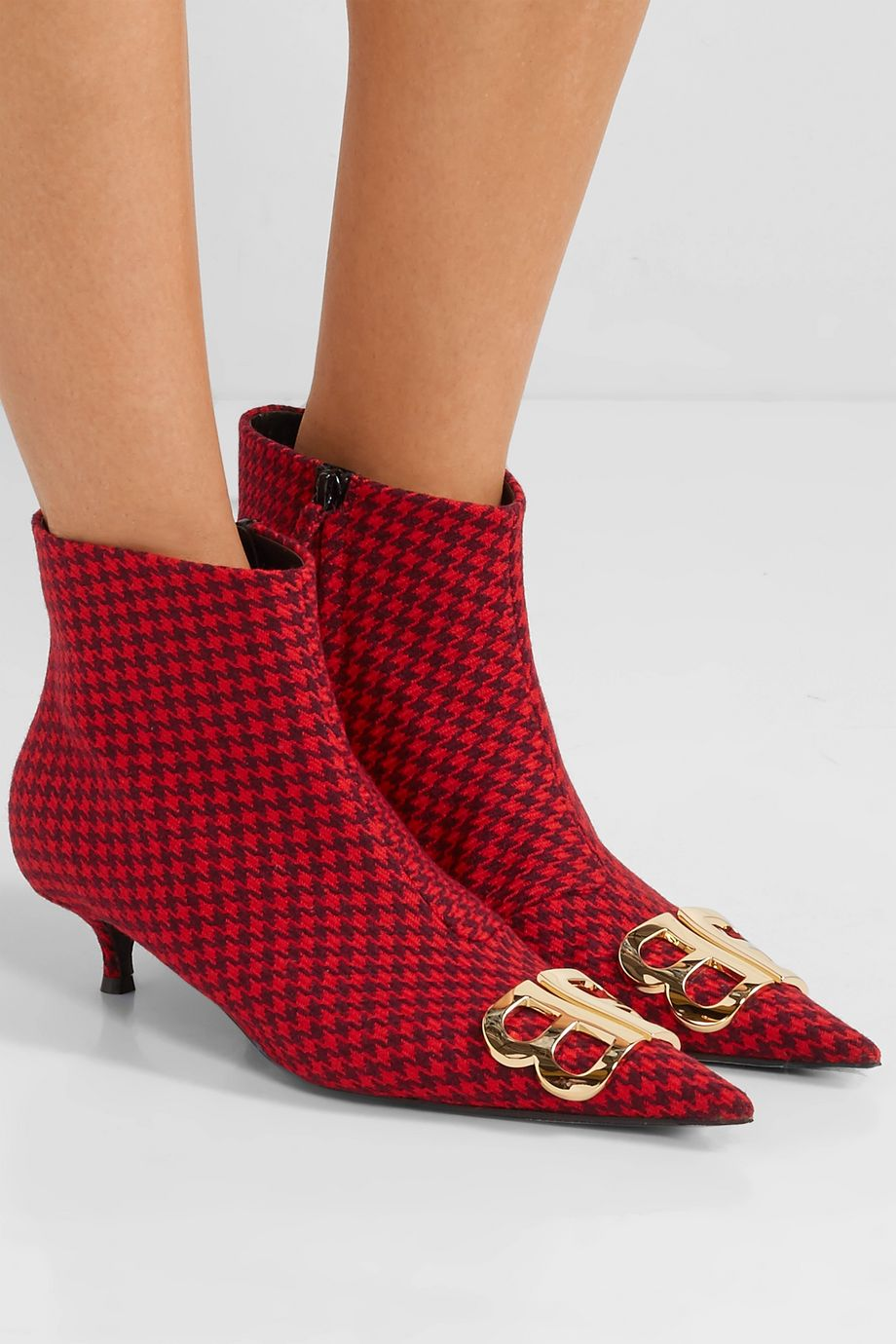 Balenciaga Knife logo-embellished houndstooth wool ankle boots