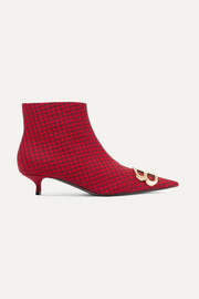 Balenciaga Knife logo-embellished houndstooth wool ankle boots