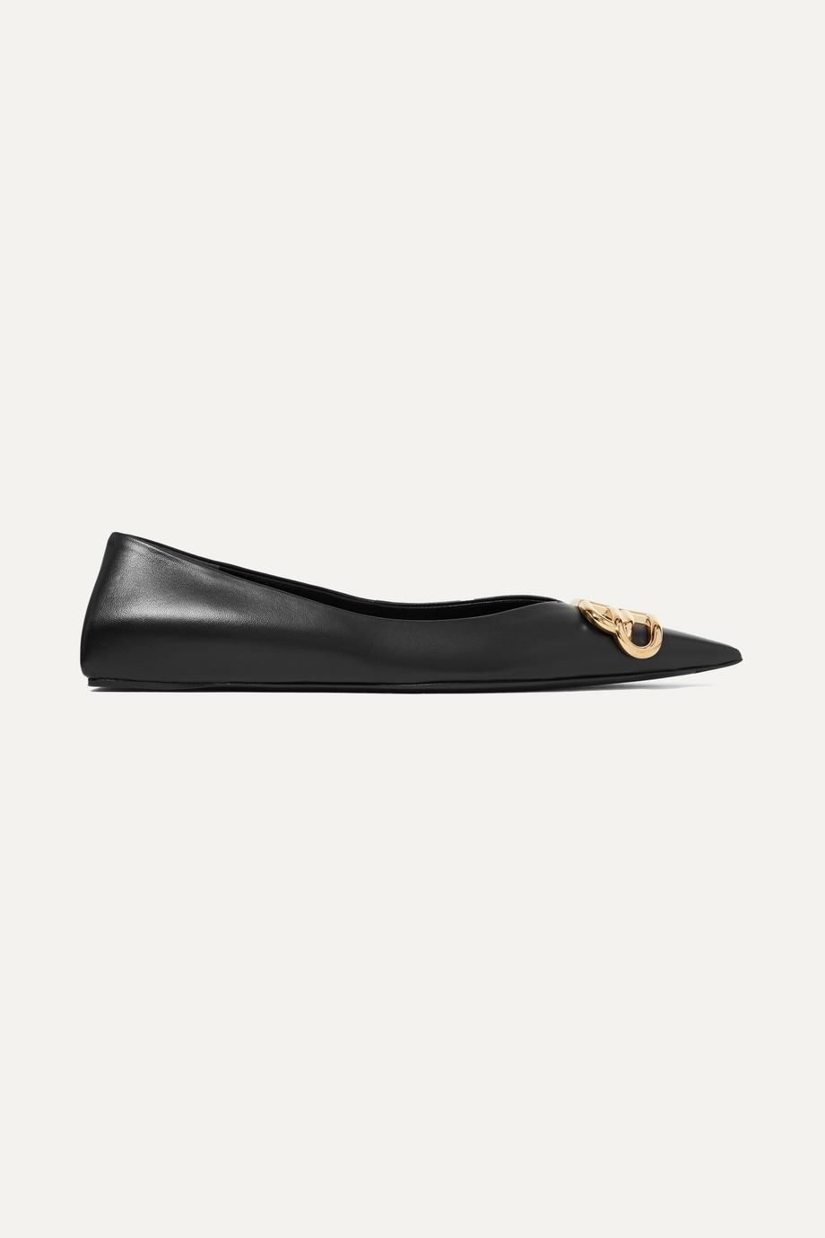 Balenciaga Square Knife logo-embellished leather point-toe flats