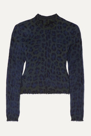 Unravel Project Leopard-intarsia brushed wool-blend sweater