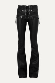 Unravel Project Plonge lace-up leather flared pants