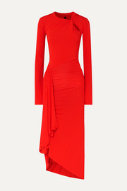 Unravel Project Twisted draped stretch-jersey midi dress