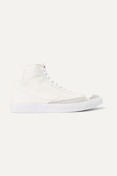 Blazer Mid '77 suede trimmed canvas high top sneakers