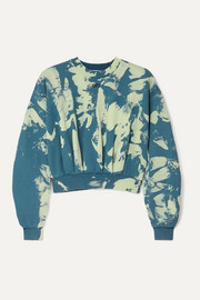 Off-White Cropped tie-dyed cotton-jersey sweatshirt