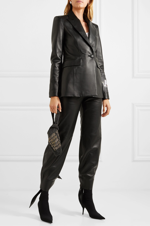 Off-White Appliquéd printed leather jacket