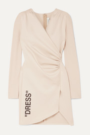 Off-White Ruched printed stretch-crepe and jersey mini dress