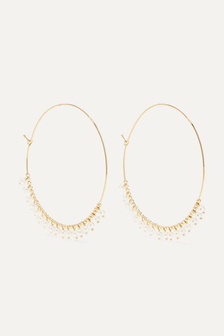 Gold 14-karat gold pearl hoop earrings | Mizuki RYWSk4