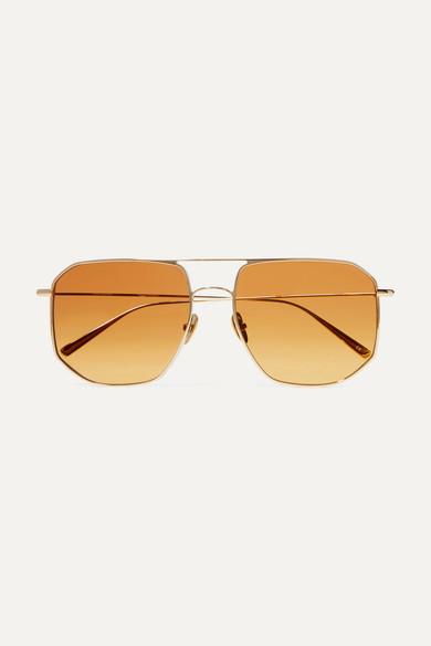 La Motta Aviator Style Gold Tone Sunglasses by Kaleos