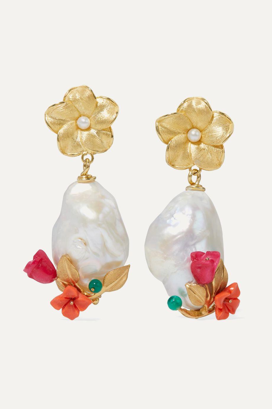 Of Rare Origin Power Ohrringe aus Gold-Vermeil mit mehreren Steinen