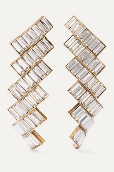 Gold Tone Crystal Earrings by Balenciaga