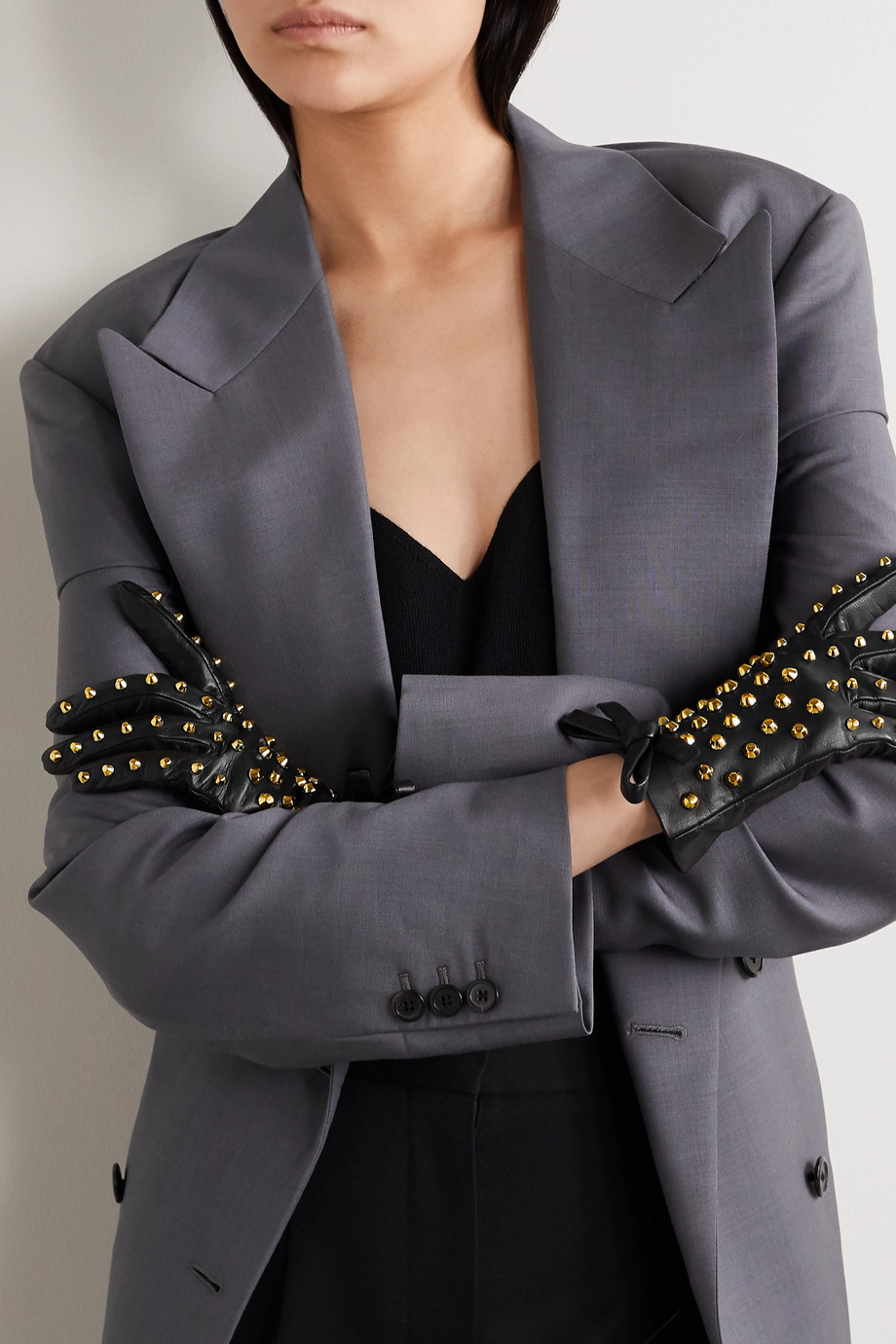 Prada Bow-detailed studded leather gloves