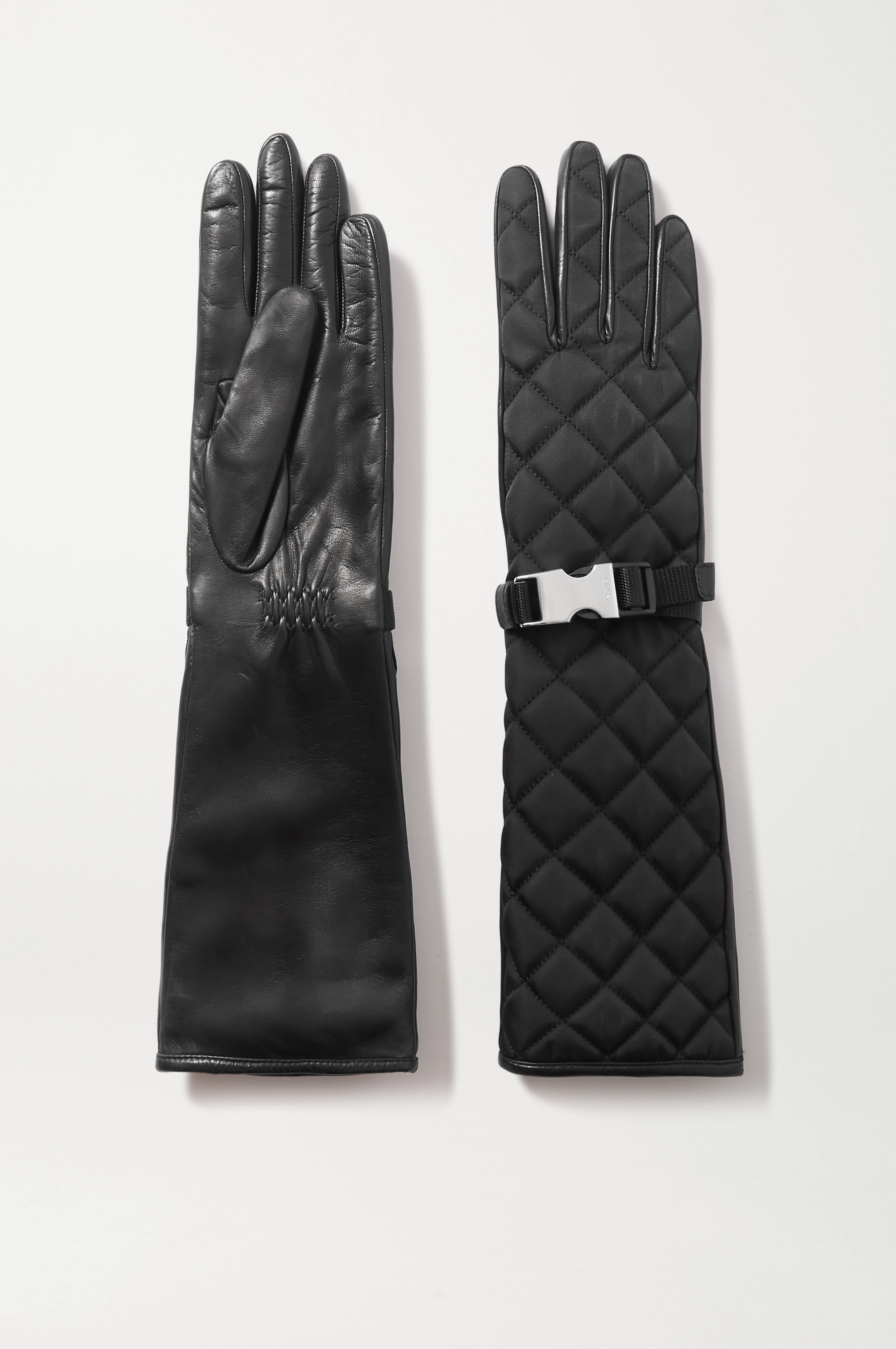 Black Buckle-detailed Quilted Nylon And Leather Gloves | Prada