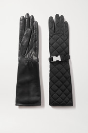 Prada Buckle-detailed quilted nylon and leather gloves