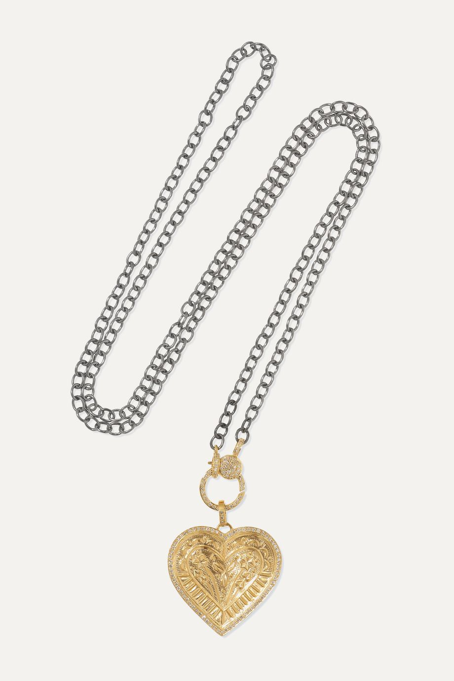 Ileana Makri Promise Heart 18-karat gold and oxidized sterling silver diamond necklace