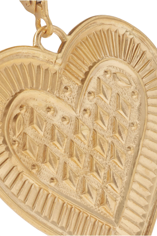 Gold Cross My Heart 22-karat Earrings   Ileana Makri