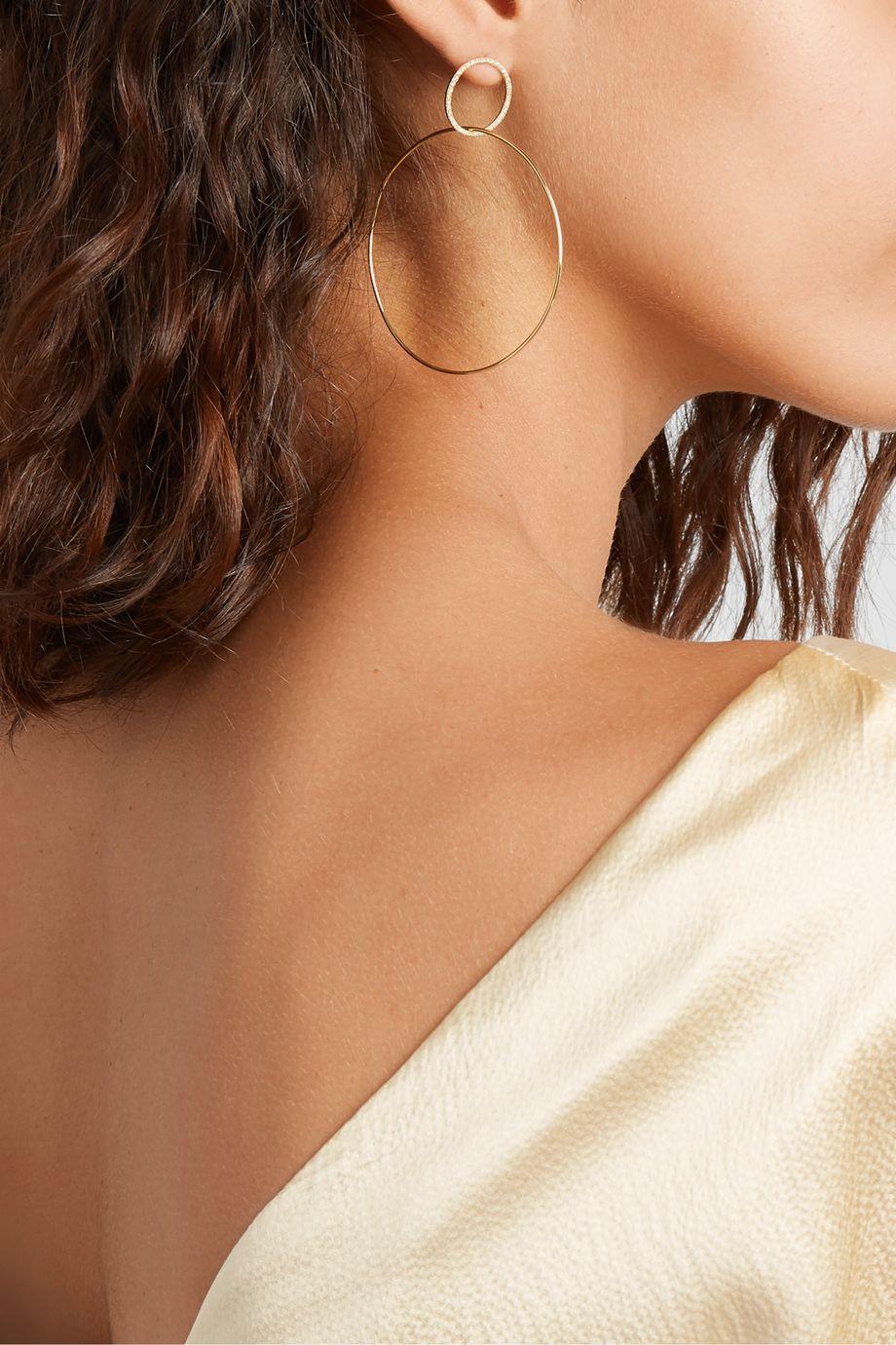 Ileana Makri Double Slim Large 18-karat gold diamond hoop earrings