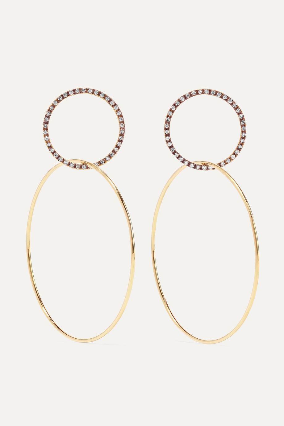 Ileana Makri Double Slim Medium 18-karat gold diamond hoop earrings