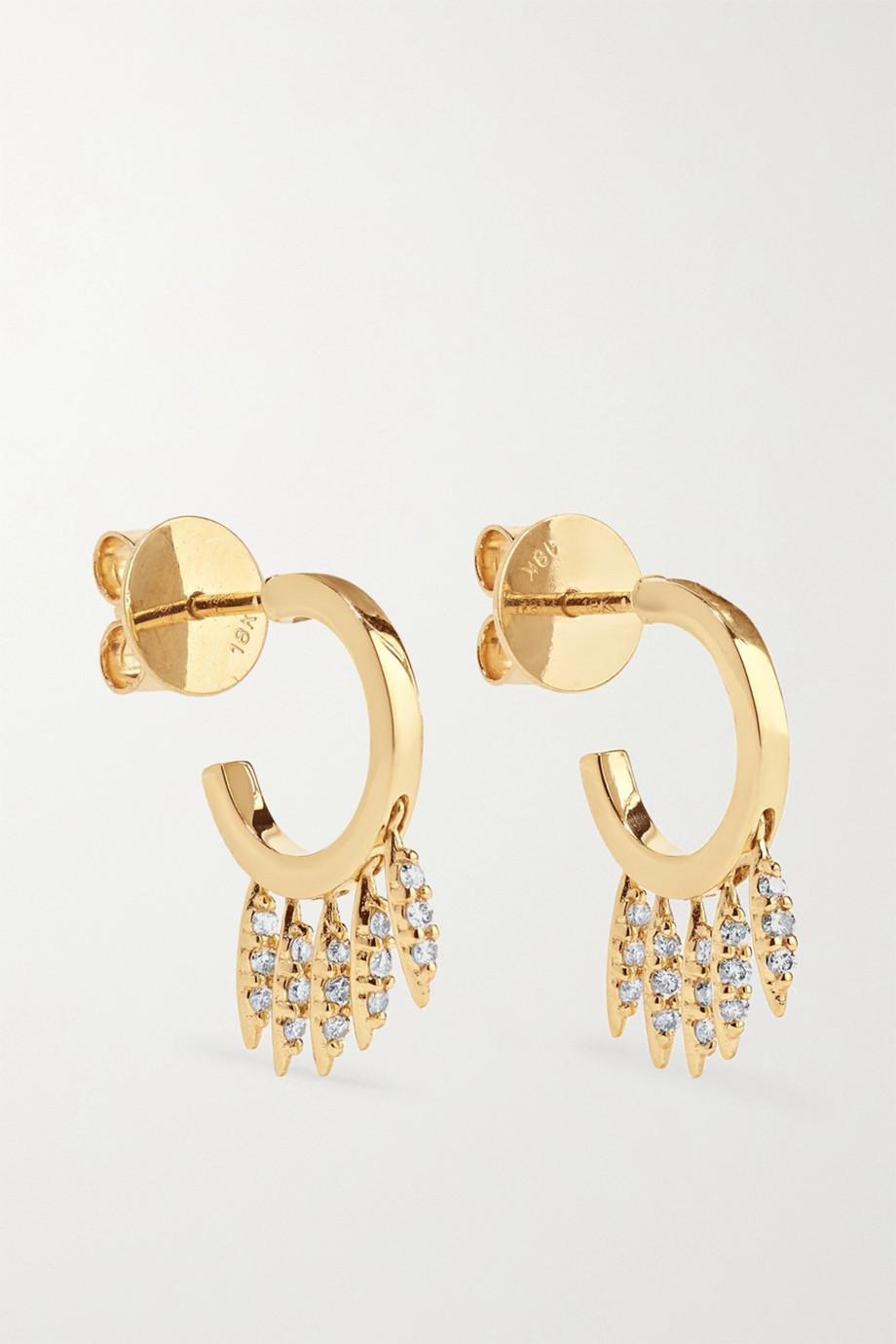 Ileana Makri Grass Clipping Creolen aus 18 Karat Gold mit Diamanten