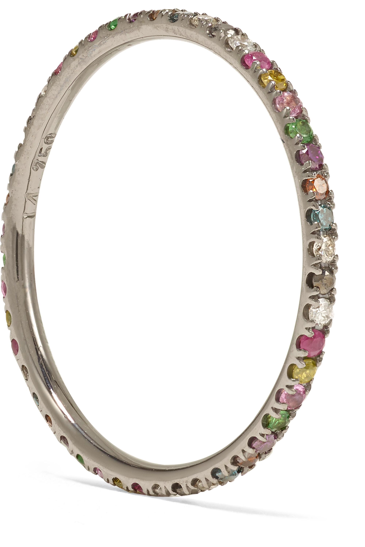 Ileana Makri Thread 18K 黑化白金多种宝石戒指