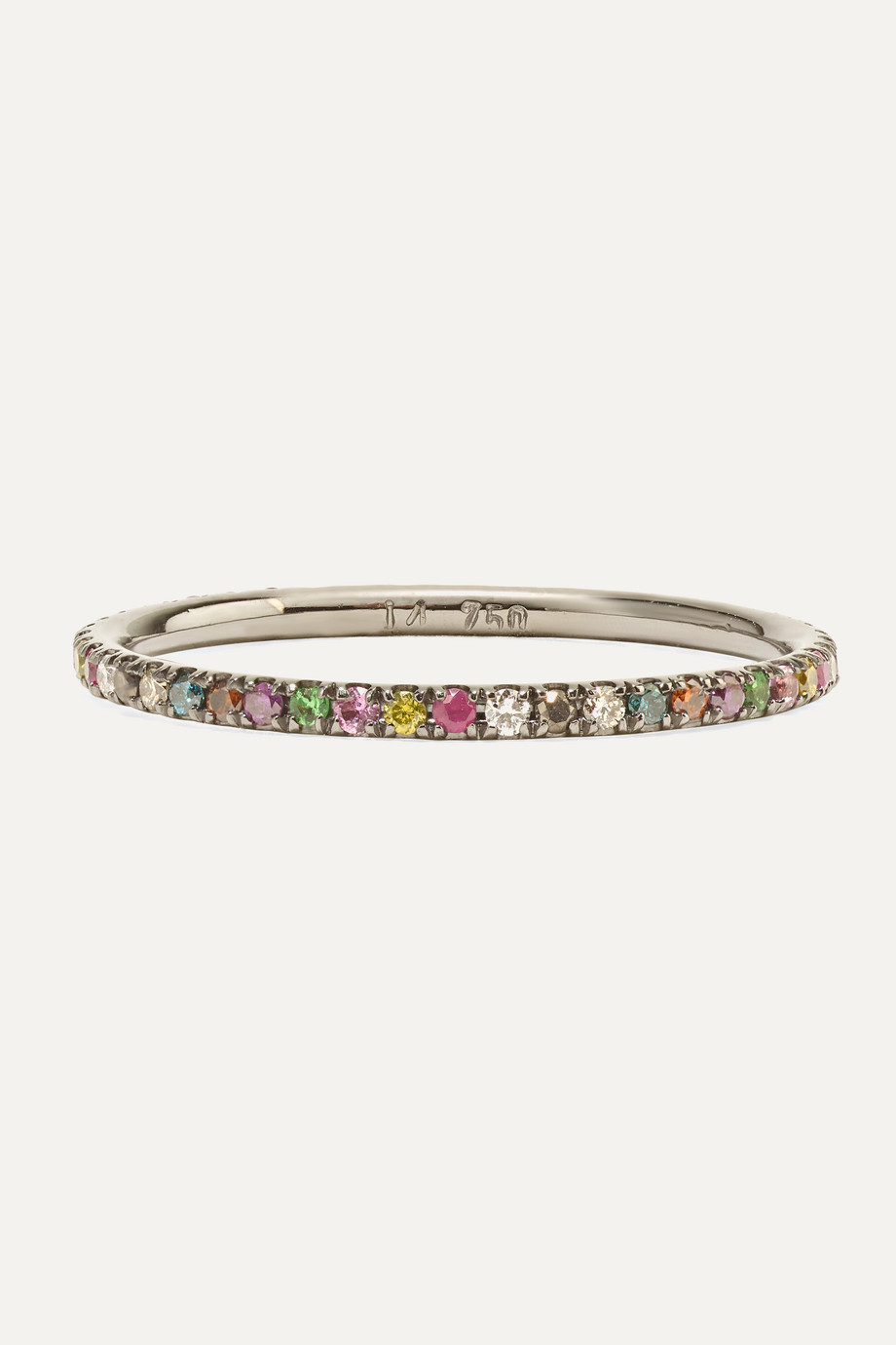 Ileana Makri Thread 18-karat blackened white gold multi-stone ring