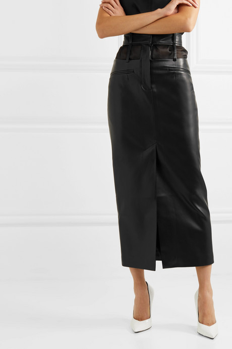 Cutout faux leather midi skirt