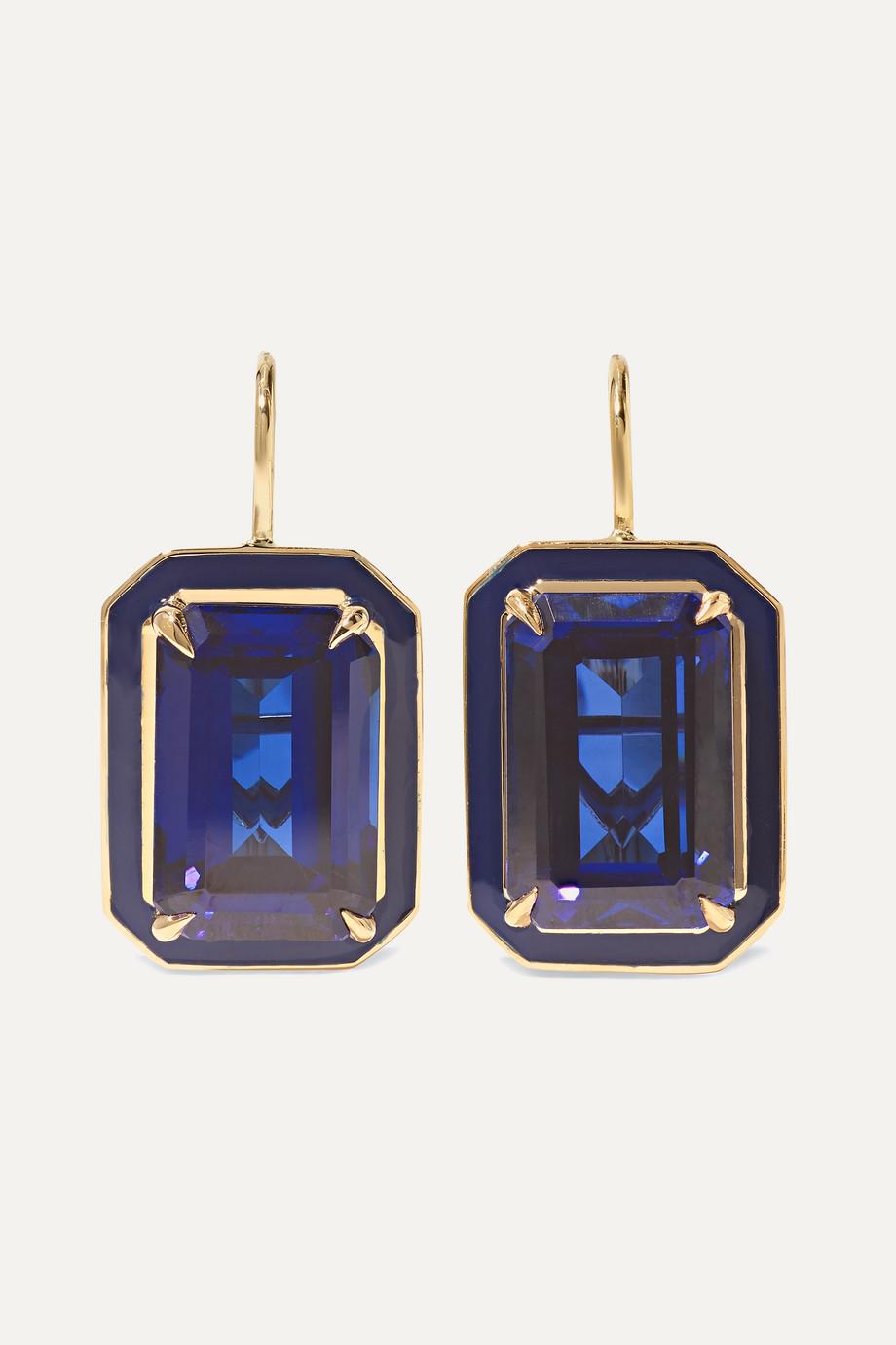 Alison Lou Cocktail 14-karat gold, sapphire and enamel earrings