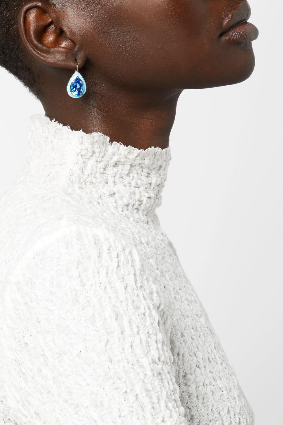 Alison Lou Cocktail 14-karat gold, enamel and topaz earrings