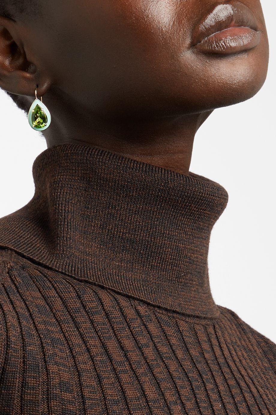 Alison Lou Cocktail 14-karat gold, enamel and peridot earrings