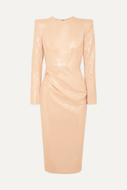 Alex Perry Corbet gathered sequined crepe midi dress