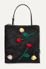 Fiori leather-trimmed appliquéd nylon tote