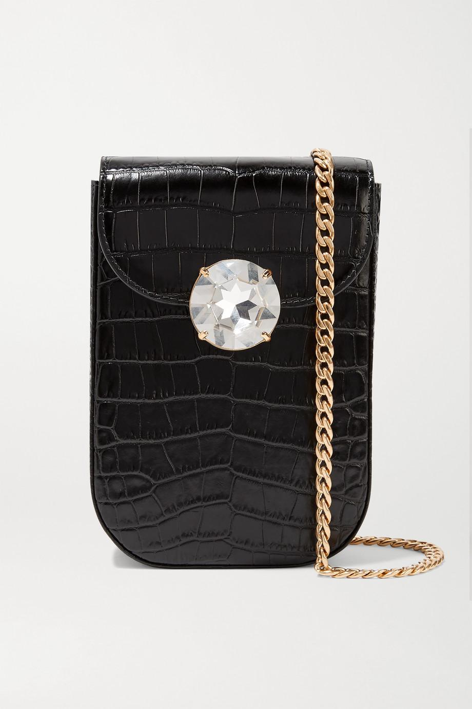 Miu Miu Soitaire Schultertasche aus Leder mit Krokodileffekt und Kristall