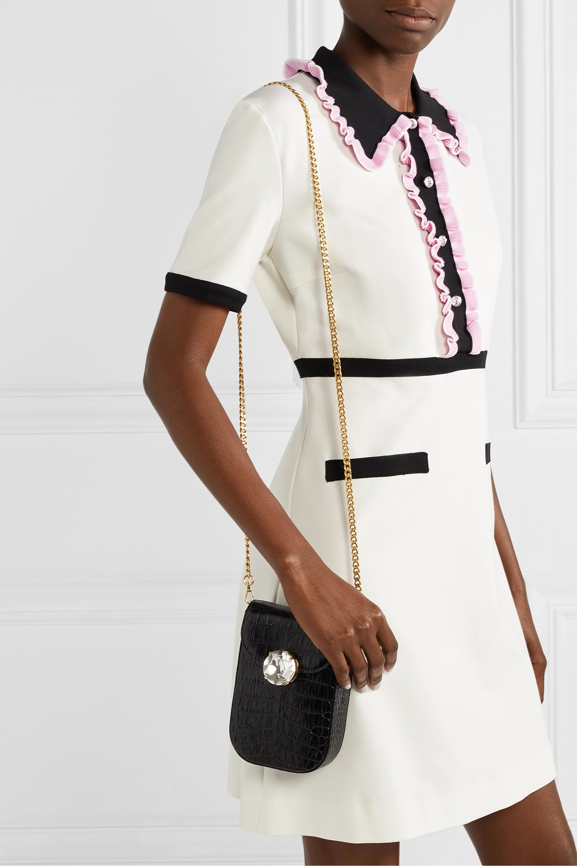 Miu Miu Solitaire crystal-embellished croc-effect leather shoulder bag