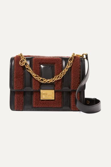Kan U Shearling Trimmed Crinkled Leather Shoulder Bag by Fendi
