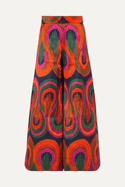Printed cotton and silk-blend satin wide-leg pants