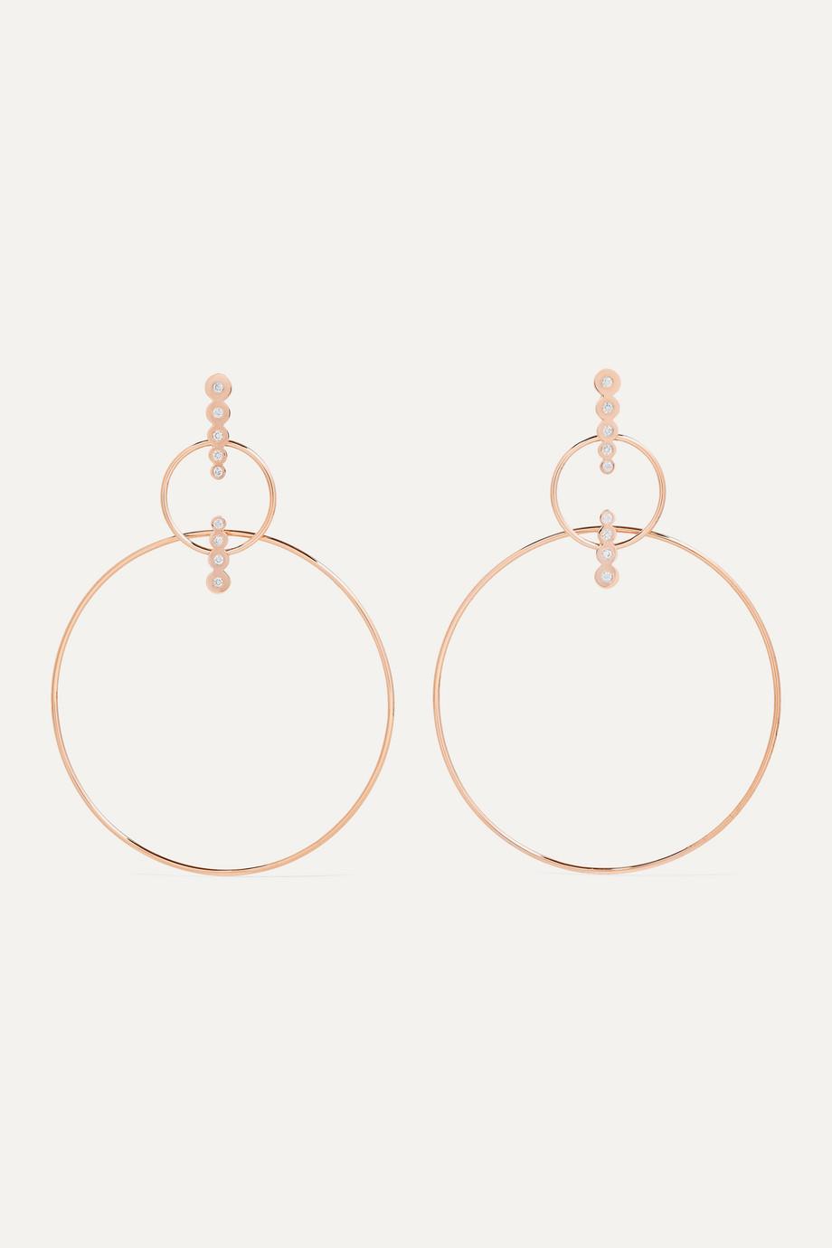 Diane Kordas Double Hoop 18-karat rose gold diamond earrings
