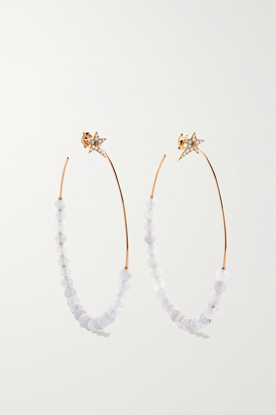 Diane Kordas Star 18-karat rose gold, quartz and diamond hoop earrings