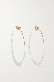 Star 18-karat rose gold, quartz and diamond hoop earrings