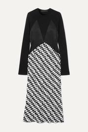 Paneled wool-jersey, satin and jacquard midi dress