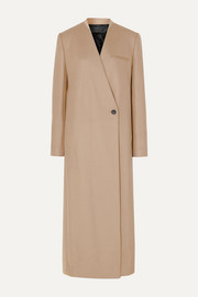Haider Ackermann Satin-trimmed wool-blend coat